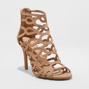 Women's Caged Heel Nude Cut Out Open Toe Pump NEW